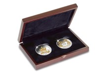 Medium wooden display case for two crown sized coins.