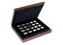 Wooden Coin Collection Case. Dimensions: 226 x 226 x 48mm. Comes  with 2 x 12 hole black trays and a 20 hole black tray. Holds up to 44 coins.