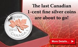 2012 Canada Fine Silver Penny with Gold Plating