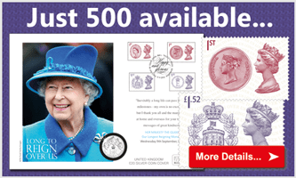 Own the British coin cover that perfectly captures our Longest Reigning Monarch