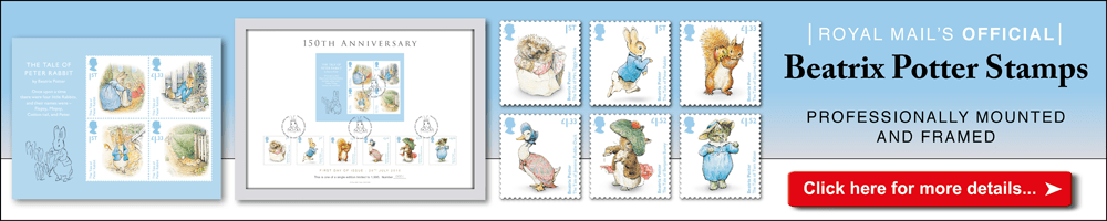 Royal Mail Official Beatrix Potter Stamps Professionally Mounted and Framed