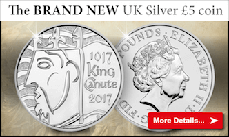 The new UK King Canute Silver £5 Coin