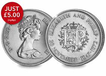 Struck by the Royal Mint in 1972, this crown coin was the first British coin to have a face value of 25p. It was issued to mark the 25th Wedding Anniversary of Queen Elizabeth II and Prince Philip.