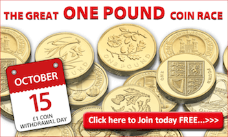 Join the Great One Pound Coin Race Today for Free...