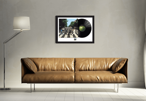 Abbey Road Framed Stamp and Vinyl above Sofa