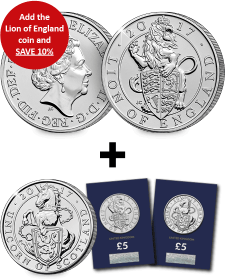 Add the Lion of England BU 5 Pound Coin