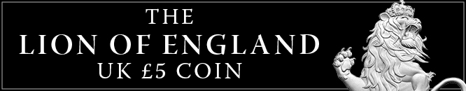 Lion of England UK 5 Pound Coin Banner Mobile