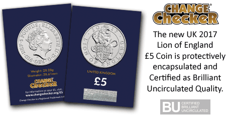 Lion of England BU 5 Pound Coin in Packaging