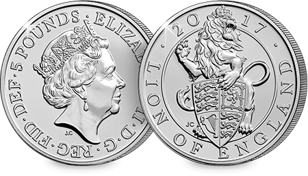 Lion of England BU 5 Pound Coin Obverse Reverse
