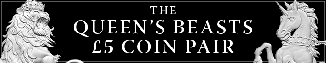 Queen's Beasts 5 Pound Coin Pair Banner Mobile