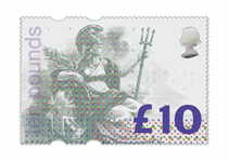 Arguably the most extraordinary stamp ever released in the UK, the £10 Britannia postage stamp is the most secure British stamp ever released.