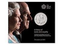 This £5 BU Pack has been issued by the Royal Mint to mark QEII and Prince Philip's 70th Wedding Anniversary. Features double effigy on the obverse and equestrian design on reverse.
