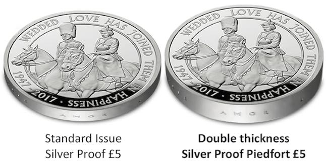 The Platinum Wedding UK Silver Proof Piedfort Comparison