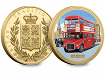 The Routemaster Bus is an iconic symbol of London and is recognised throughout the world. This medal shows one of the original 64-seat buses on route 276 in 1961 crossing Westminster Bridge