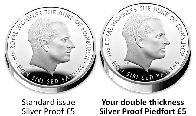 Prince Philip UK Piedfort Comparison Image