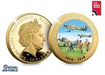 To celebrate the 100th anniversary of the RAF in 2018, Jersey have issued a gold-plated proof coin featuring a full colour image of the Hawker Hurricane and the words Royal Air Force Centenary.