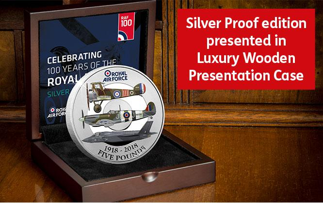 RAF Centenary Five Pound Silver Proof Coin in Presentation Case