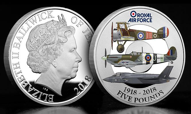 RAF Centenary Five Pound Silver Proof Coin Obverse Reverse