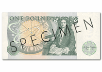 This £1 banknote was issued in 1981-1984. It reverse features Isaac Newton, and the obverse features a portrait of HRH Queen Elizabeth II, and the Chief Cashier signature of D H F Somerset.