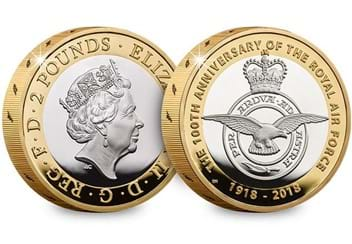 UK 2018 RAF 100Th Badge Silver Proof Piedfort Two Pound Coin Obverse Reverse