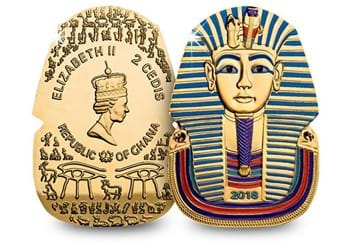 2018 Ancient Egypt Tutankhamun Gold Plated Coin Obverse Reverse
