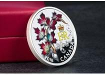 2018 Queen's Maple Leaves Brooch Royal Canadian Mint have replicated The Queens maple leaves brooch in exacting detail - enameled leaves edged with sparkle + Swarovski pearl crystal. 99.99% Silver