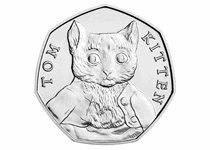 This 50p was issued by The Royal Mint as part of the second series of 50p coins to celebrate the life work of Beatrix Potter. This coin features the design by Emma Noble of Tom Kitten.