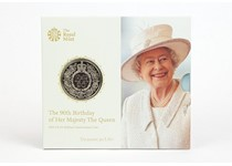 This £5 coin was issued in 2016 to celebrate the Queen's 90th birthday. The coin is in brilliant uncirculated quality and is protectively displayed in a presentation pack.