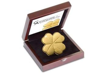 Four Leaf Clover Shaped Gold Coin In Display Case