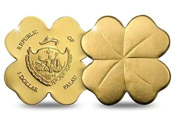 Four Leaf Clover Shaped Gold Coin Obverse Reverse