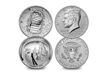 This set marks the 50th anniversary of the Apollo 11 moon landings, includes commem half dollar and Kennedy Reverse Proof half dollar to mark the relationship between the president/space programme.
