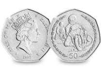 This 50p coin was issued in 1997 and was issued as a commemorative coin for the Tourist Trophy Motorcycle Races. The reverse featurestwo motorcyclists racing.