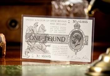 Warren Fisher One Pound Silver Banknote Front Lifestyle3