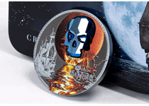 The Crystal Skull is back in 2019 with the ominous Luna deies of dark Sangre issue. Centerpiece of the coin is a metallic blue, skull shaped SWAROVSKI crystal superimposed on a blood moon.