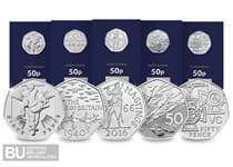 The 2019 50th Anniversary of the 50p Military CERTIFIED BU Set includes five brand new 50p coins that have been re-issued by The Royal Mint in 2019.