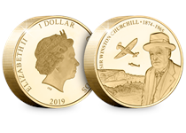 The Winston Churchill Gold-Plated Piedfort coin.