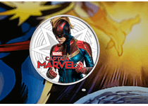 This 1oz silver coin from Fiji features Captain Marvel on the reverse and comes complete with presentation tin and card