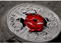 This coin has been issued by The Royal Canadian Mint to mark the centenary of Remembrance Day. It is struck from 99.99% silver to a proof finish and features a Murano glass poppy in its centre.