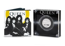 Silver Proof Half Ounce Coin issued by The Royal Mint to commemorate the band Queen. Struck from .999 Silver to a Proof finish. Presented in bespoke Royal Mint presentation box. EL 17,500.