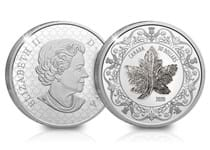 Royal Canadian Mint Coin that features a replica of Queen Elizabeth II's Maple Leaf Brooch. Struck from 99.99% Silver to a proof finish. Features 3-Carats of white zircon stones.