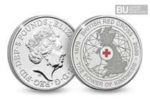 This £5 coin has been issued to celebrate the 150th Anniversary of the British Red Cross and features colour printing within the design.