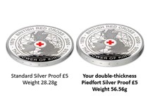 This Piedfort £5 has been struck by The Royal Mint to mark 150 years of The British Red Cross. It is struck from .925 silver to a proof finish. Presented in original Royal Mint packaging. EL 1,150.