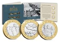 2020 marks the 80th Anniversary of the Battle of Britain. This set features 3 £2 coins, each inspired by a line from Winston Churchill's wartime speech 'The Few'.