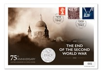 The WWII 75th Anniversary UK Stamp & Coin Cover includes The Royal Mint's 2020 75th Anniversary of WWII £5 Coin & Royal Mail's 1995 Peace & Freedom stamps & a First Class Definitive.