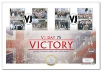 To commemorate the 75th Anniversary of VJ Day, this cover presents Royal Mail's 2020 Victory in Europe Silver £2 coin with Selective Gold-Plate with Royal Mail's 2020 End of World War II 8v stamps.