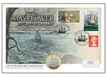 Your Mayflower Silver Coin Cover presents The Royal Mint's 2020 Mayflower Silver £2 coin alongside Royal Mail's 2003 Mayflower stamp the 1970 Mayflower stamp and a Red 1st Class Definitive.