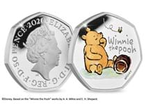 The official Winnie the Pooh 50p issued by The Royal Mint. Struck from silver to proof finish. Features a colour image of Winnie the Pooh. Comes in Royal Mint presentation box with CoA. EL 18,000.