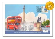 This cover features both UK 2019 Royal Mint Brilliant Uncirculated Paddington 50p coins, alongside Royal Mail's 2006 Paddington stamp. Postmarked on the date of the first film: 28.11.19. EL: 1,000.