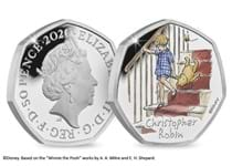 The official Christopher Robin 50p issued by The Royal Mint. Struck from Silver to proof finish. Features colour image of Christopher Robin. Presented in official Royal Mint presentation box with CoA.