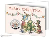 Peter Rabbit and His Presents Commemorative silver-plated to a Proof finish. Features full colour image. Obverse features the Official Peter Rabbit logo. Comes encapsulated in a blank card. EL: 9,995